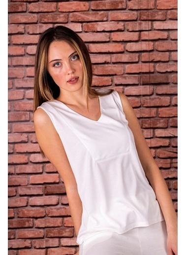 Stamina  Bayan V Yaka Kolsuz Bluz-5VS07 Beyaz